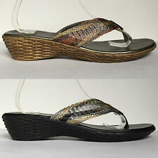Mischief Black Bronze Gold Weave Wedge Sandals Toe-Post Wire Textured Low Heel