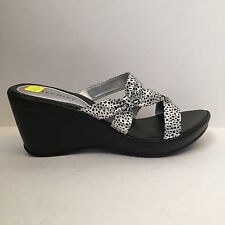 Mischief Silver and Black Strappy Slip On Mule Sandals Spotted Dotty Mid Heel