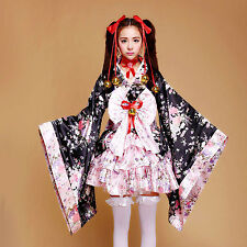 Japanese Kimono Lolita Anime Maid Uniform Cosplay Costume Sakura Dress Outfit