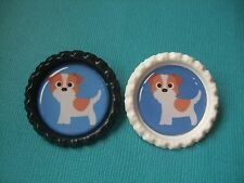Handmade Jack Russell Dog Brooch Bottle Cap Badge Cartoon Puppy Terrier Blue