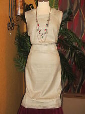 * CALVIN KLEIN NWT $160 16W faux leather perforated women's dress beige latte