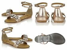 Women's Sandals RAVEL Tulsa-Rose Gold Genuine Leather Jewelled Toe/Ankle Strap