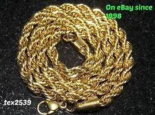 Rope Necklace 18K Yellow Gold Plated 2-3-4-5-6mm 18-30 inches LIFETIME WARRANTY.