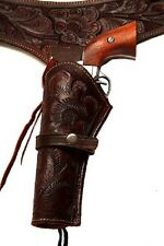 44/45 Brown Western/Cowboy Hollywood LEFT HANDED Leather Gun Holster and Belt