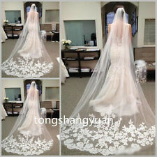 Newest Bridal Veils Lace Appliques Wedding Veils White Ivory Cathedral With Comb