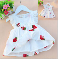 Baby Kids Girl Vest Flower Printed Skirt Sleeveless Embroidery Mini Dress BBUS
