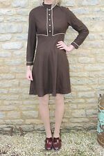 Vintage 1960s Brown Retro Long Sleeve Mod Mini Dress M