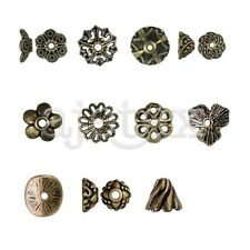 11 Style 25-500pcs Metal End Bead Flower Round Cone Jewelry Finding