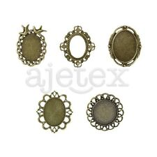 3-10pcs Vintage Antique Brass Glue in Cabochon Cameo Setting