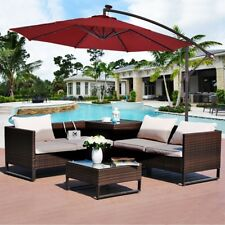 Outdoor 10' LED Hanging Solar Umbrella Patio Sun Shade Offset Market Use w/Base