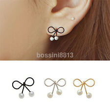 1 Pair Gold / Silver new Elegant Bowknot Shaped Pearl Alloy Studs Earrings US