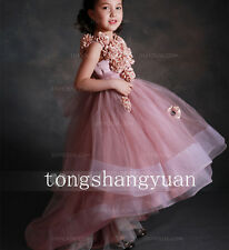 Ruffles Flower Girl Dresses Handmade Flowers Birthday Party Wedding Formal Gowns
