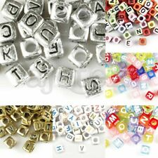 Acrylic Cube Alphabet Letter Beads DIY Jewelry Crafts 6x6x6mm/7x7x7mm Wholesale