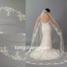 2017 Lace Applique Bridal Veils Custom Wedding Veil Cathedral + Comb White Ivory
