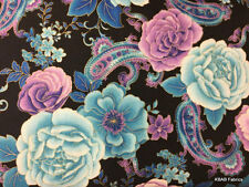 Blue Purple Floral Paisley Elegant Flowers Cotton Fabric BTY Yard or HY w4/26