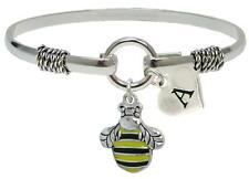 Custom Bumble Bee Silver Only Wire Bracelet Jewelry Honey Initial Family Charms