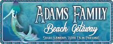 Personalized Beach House Sign in Blue with Mermaid and Ocean Waves Border  C1409