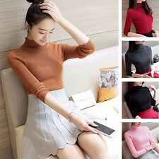 Women Ladies Casual High Collar Sweater Shirt Long Sleeve Knitting Blouse Tops