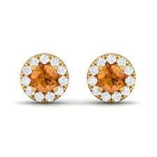 Orange Citrine IJ SI Diamond Gemstone Womens Halo Stud Earring Yellow Gold