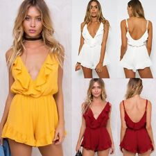 Women Deep V Short Sleeveless Summer Fashion Casual frilled Jumpsuits Rompers