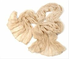 Womens Unisex Stylish Soft Crinkle Pure Candy Scarf Wrap Shawl Stole Soft Beige