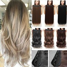 100% Real Thick Hair Extensions Wavy Straight Clip in Human Hairpiece Brown Hc5
