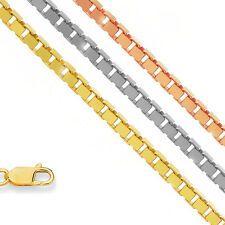 "10k Solid Yellow Or White Gold 0.8mm Box Chain Necklace 16"" 18"" 20"" 22"" 24"" 30"""