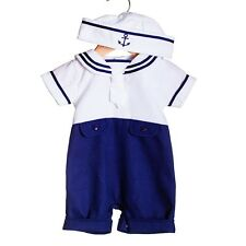 Baby Traditional Romany Spanish Style Sailor Outfit Romper & Hat Set by Zip Zap