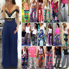 Lady Casual Palazzo Yoga Trousers Wide Leg Hippie Long Stretch Flare Pants Harem