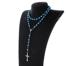 Fashion Womens Girls Rosary Beads Long Sweater INRI Cross Pendant Necklace Chain