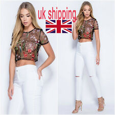 Women's Mesh Floral Embroidered Blouse Casual See-Through Sheer Crop Top T Shirt