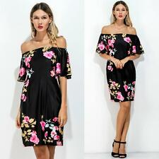 Fashion Women Floral Off Shoulder Dress Bodycon Evening Party Prom Dresses Z6F3