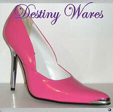 Pleaser HEAT Chrome Tip & Heel Stiletto Shoes - HOT PINK