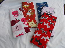 Handmade soft padded spectacle pouch / glasses case - cats & dogs cottons