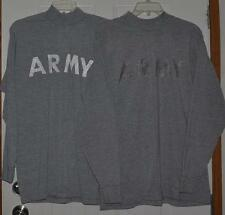 ARMY 2 GRAY Long Sleeve Fitness Uniform t-Shirts Sz Medium pull over Physical