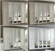 CHALET 4/5/6 Door White Oak Effect Wardrobe With Mirror Bedroom Furniture German