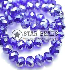 FACETED RONDELLE CRYSTAL GLASS BEADS 4MM,6MM,8MM,10MM - ROYAL BLUE (HALF AB)