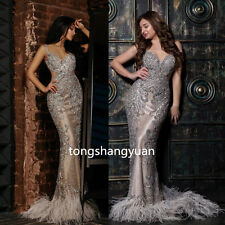 Luxury Mermaid Wedding Dresses Crystals Bridal Gown Feather Custom Size New Sexy
