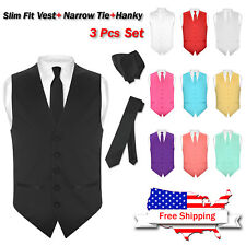 Men's Dress SLIM Fit Vest Skinny NeckTie Solid BLACK Color Neck Tie Hanky Set