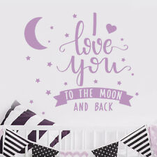I Love You To The Moon Quote Wall Decal Nursery Decor Sticker Star Vinyl MA237
