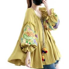 Ladies New Cotton Linen Embroidery Floral TopS Loose Blouse Lantern sleeve Shirt