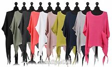 New Ladies Italian Plain Batwing Linen Tunic Top Women Lagenlook Top Plus Sizes