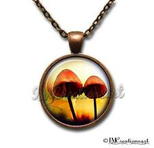 Handmade Glass Pendant Necklace Nature Mushroom Mystical Magical Fairy Orange