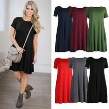 Womens Short Sleeve Party Cocktail Pleated Summer Mini Skater Party Dress M0C2