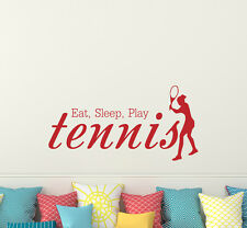 Vinyl Wall Decals Eat Sleep Play Tennis Quote Decal Tennis Player Sticker aa265