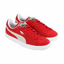 Puma Suede Classic+ Mens Red Suede Lace Up Sneakers Shoes