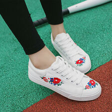 Women Girl Flat Heels Embroidered Flower Round Toe White Lace up Shoes Sneakers