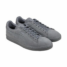 Puma Suede Classic Casual Emboss Mens Gray Suede Lace Up Sneakers Shoes