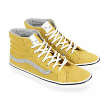 Vans Sk8 Hi Slim Mens Yellow Suede High Top Lace Up Sneakers Shoes