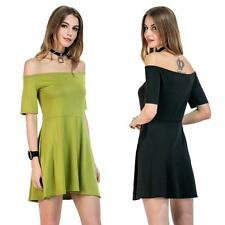 Womens Short Sleeve A Line Dress Cocktail off shoulder Summer Mini Dress Y8X8